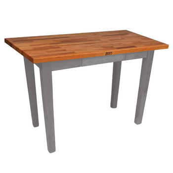 "John Boos Oak Table Boos Block, 48""W x 25""D x 35""H, Without Shelf, Slate Gray"