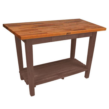 Walnut Stain Oak Table w/ 1 Shelf