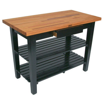 Black Oak Table w/ 2 Shelves