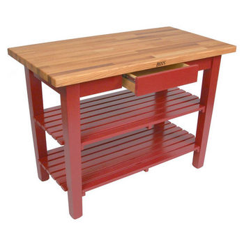 Barn Red Oak Table w/ 2 Shelves