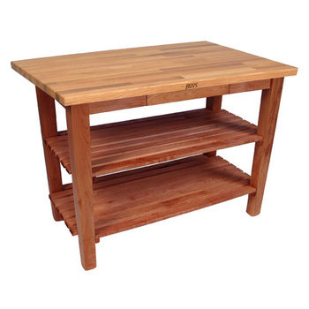 Warm Cherry Stain Oak Table w/ 2 Shelves