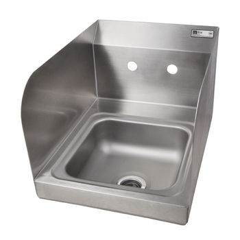 "John Boos Pro Bowl Fabricated Space Saver Wall Mount Hand Sink with Left & Right Side Splash, Stainless Steel, Splash Mount Faucet Holes with 4"" On-Center Spread (Faucet Not Included), 9""W x 9""D x 5""H, 1-7/8"" Drain"