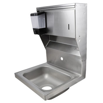 "John Boos Pro Bowl Fabricated Space Saver Wall Mount Hand Sink with Soap & Paper Towel Dispenser, Stainless Steel, Splash Mount Faucet Hole Centered (Faucet Not Included), 14""W x 10""D x 5""H, 3-1/2"" Drain"