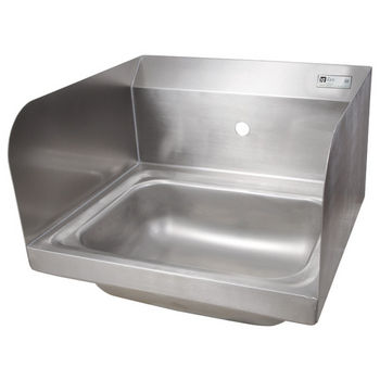 "John Boos Pro Bowl Fabricated Space Saver Wall Mount Hand Sink with Left & Right Side Splash, Stainless Steel, Splash Mount Faucet Hole Centered (Faucet Not Included), 14""W x 10""D x 5""H, 1-7/8"" Drain"