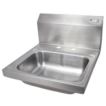 "John Boos Pro Bowl Fabricated Space Saver Wall Mount Hand Sink, Stainless Steel, Deck Mount Faucet Holes with 4"" On-Center Spread (Faucet Not Included), 14""W x 10""D x 5""H, 1-7/8"" Drain"