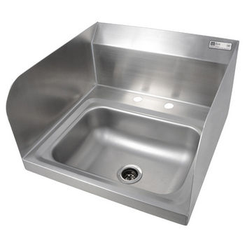 "John Boos Pro Bowl Fabricated Space Saver Wall Mount Hand Sink with Left & Right Side Splash, Stainless Steel, Deck Mount Faucet Holes with 4"" On-Center Spread (Faucet Not Included), 14""W x 10""D x 5""H, 1-7/8"" Drain"