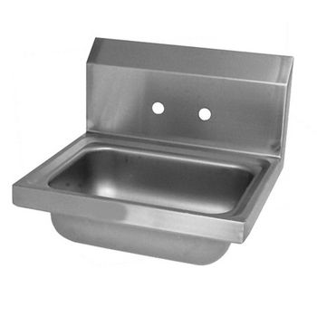 "John Boos Pro Bowl Fabricated Space Saver Wall Mount Hand Sink, Stainless Steel, Splash Mount Faucet Holes with 4"" On-Center Spread (Faucet Not Included), 14""W x 10""D x 5""H, 3-1/2"" Drain"