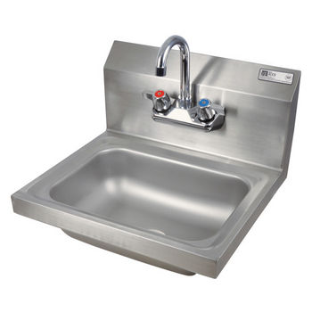 "John Boos Pro Bowl Fabricated Space Saver Wall Mount Hand Sink, with Faucet, Stainless Steel, 14""W x 10""D x 5""H, 1-7/8"" Drain"
