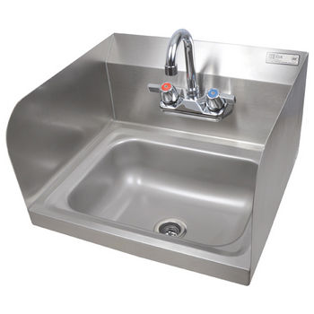 "John Boos Pro Bowl Fabricated Space Saver Wall Mount Hand Sink with Faucet and Left & Right Side Splash, Stainless Steel, 14""W x 10""D x 5""H, 1-7/8"" Drain"