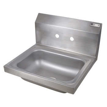 "John Boos Pro Bowl Fabricated Space Saver Wall Mount Hand Sink, Stainless Steel, Splash Mount Faucet Holes with 4"" On-Center Spread (Faucet Not Included), 14""W x 10""D x 5""H, 1-7/8"" Drain"
