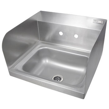 "John Boos Pro Bowl Fabricated Space Saver Wall Mount Hand Sink with Left & Right Side Splash, Stainless Steel, Splash Mount Faucet Holes with 4"" On-Center Spread (Faucet Not Included), 14""W x 10""D x 5""H, 1-7/8"" Drain"