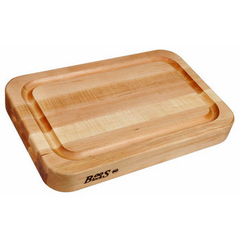 John Boos Professional Collection RAD 18'' x 12'' x 2-1/4'' with Finger Grips & Groove Reverse Side Flat, Maple Edge Grain