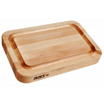 John Boos Professional Collection RAD 24'' x 18'' x 2-1/4'' with Finger Grips, Groove Reverse Side Flat & Pour Spout, Maple Edge Grain