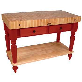 48'' Barn Red Work Table with Shelf