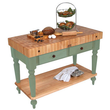 48'' Basil Green Work Table with Shelf