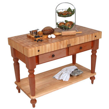 48'' Cherry Stain Work Table with Shelf