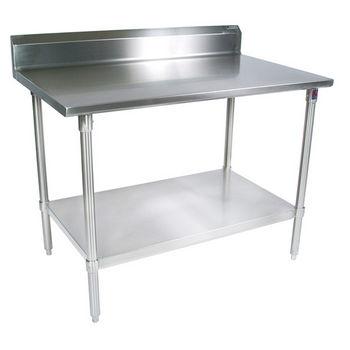 "John Boos 16-Gauge Stainless Steel Worktable w/ 6"" Backsplash & Galvanized Shelf & Legs"