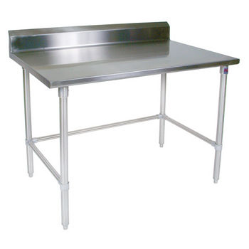 "John Boos 16-Gauge Stainless Steel Worktable w/ 6"" Backsplash & Galvanized Base"