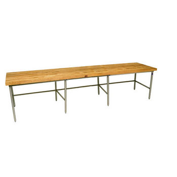 "John Boos Baker's Production Table, Galvanized Frame, with 2-1/4"" Thick Hard Rock Maple Wood Top"