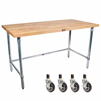 "John Boos 1¾"" Thick Blended Maple Top Work Table w/ Stainless Steel Base & Bracing 