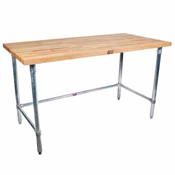 "1-3/4"" Thick Maple Top Kitchen Island with Stainless Steel Base by John Boos"