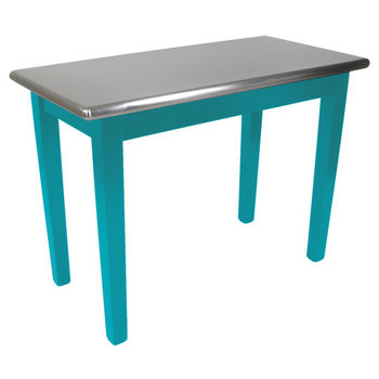 "John Boos Kitchen Island Cucina Moderno with Stainless Steel Top, 48"" x 24"", Caribbean Blue"