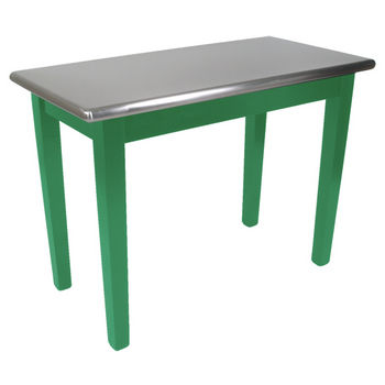 "John Boos Kitchen Island Cucina Moderno with Stainless Steel Top, 48"" x 24"", Clover Green"