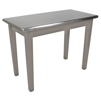 "Kitchen Island Cucina Moderno with Stainless Steel Top, 48"" x 24"", Useful Gray Stain"