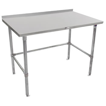 "John Boos ST4R1.5-GB Series 14-Gauge Stainless Steel Top Work Table in Multiple Sizes with 1-1/2"" Riser, Adjustable Galvanized Legs & Bracing, Knocked Down Options"