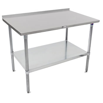 "John Boos ST4R1.5-GS Series 14-Gauge Stainless Steel Top Work Table in Multiple Sizes with 1-1/2"" Riser, Adjustable Galvanized Legs & Shelf, Knocked Down Options"