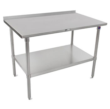 """John Boos ST4R1.5-M-SS Series 14-Gauge Stainless Steel Top Work Table 84"""" W x 24"""" D with 1-1/2"""" Riser, Marine Edge, Stainless Legs & Shelf, All Welded Set-up"""