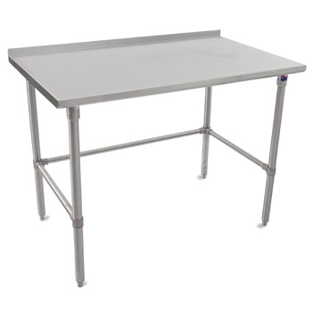 "John Boos ST4R1.5-SB Series 14-Gauge Stainless Steel Top Work Table in Multiple Sizes with 1-1/2"" Riser, Adjustable Stainless Legs & Bracing, Knocked Down Options"