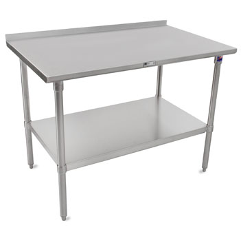 "John Boos ST4R1.5-SS Series 14-Gauge Stainless Steel Top Work Table in Multiple Sizes with 1-1/2"" Riser, Adjustable Stainless Legs & Shelf, Knocked Down Options"