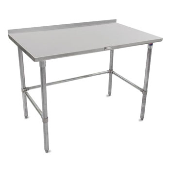 "John Boos 16-Gauge Stainless Steel Stallion Work Table 108"" W x 24"" D with 1-1/2"" Riser, Galvanized Legs and Lower Bracing, Knocked Down"