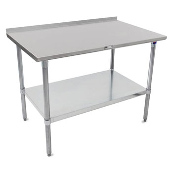 "John Boos 16-Gauge Stainless Steel Top Stallion Work Table 108"" W x 24"" D with 1-1/2"" Rear Riser, Galvanized Legs and Adjustable Shelf, Knocked Down"