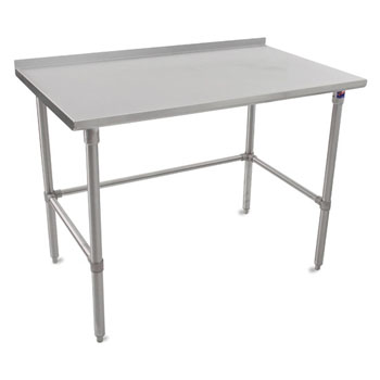 "John Boos 16-Gauge Stainless Steel Top Stallion Work Table 108"" W x 24"" D with 1-1/2"" Rear Riser, Stainless Steel Legs and Adjustable Bracing, Knocked Down"