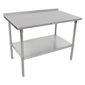 "John Boos 16-Gauge Stainless Steel Top Stallion Work Table 108"" W x 24"" D with 1-1/2"" Rear Riser, Stainless Steel Legs and Adjustable Shelf, Knocked Down"