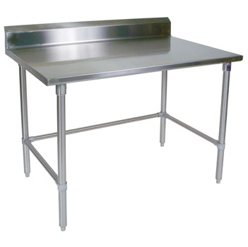 "John Boos 16-Gauge Stainless Steel Worktable w/ 6"" Backsplash & Stainless Steel Base"