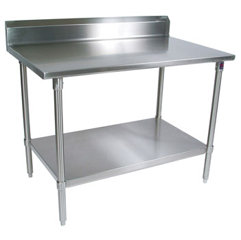 "John Boos 16-Gauge Stainless Steel Worktable w/ 6"" Backsplash & Shelf"