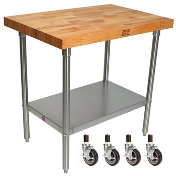 "John Boos 2¼"" Blended Maple Top Worktables w/ Stainless Steel Base & Shelf 