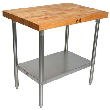 "2-3/4"" Thick Maple Top Kitchen Islands with Stainless Steel Base and Shelf by John Boos"