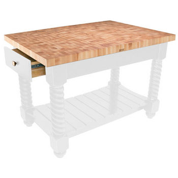 "John Boos Tuscan Isle Maple End Grain Boos Butcher Block Kitchen Island, Alabaster Base, 54""W x 32""D x 36""H"