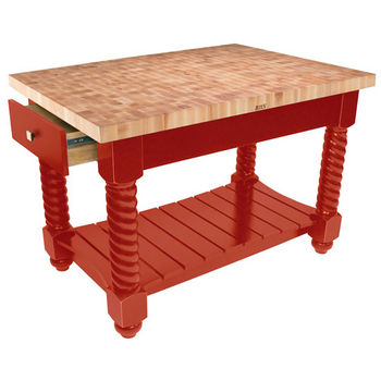 "John Boos Tuscan Isle Maple End Grain Boos Butcher Block Kitchen Island, Barn Red Base, 54""W x 32""D x 36""H"