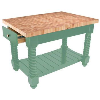 "John Boos Tuscan Isle Maple End Grain Boos Butcher Block Kitchen Island, Basil Base, 54""W x 32""D x 36""H"