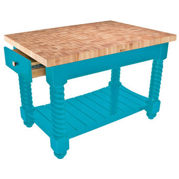 "John Boos Tuscan Isle - Maple End Grain Boos Block, Caribbean Blue Base, 54""W x 32""D x 36""H"
