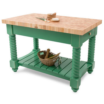 "John Boos Tuscan Isle - Maple End Grain Boos Block, Clover Green Base, 54""W x 32""D x 36""H"