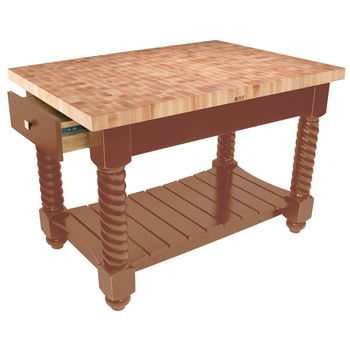 "John Boos Tuscan Isle Maple End Grain Boos Butcher Block Kitchen Island, Warm Cherry Stain Base, 54""W x 32""D x 36""H"