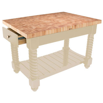 "John Boos Tuscan Isle Maple End Grain Boos Butcher Block Kitchen Island, Natural Base, 54""W x 32""D x 36""H"