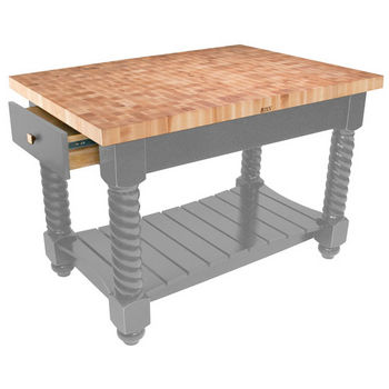 "John Boos Tuscan Isle Maple End Grain Boos Butcher Block Kitchen Island, Slate Gray Base, 54""W x 32""D x 36""H"