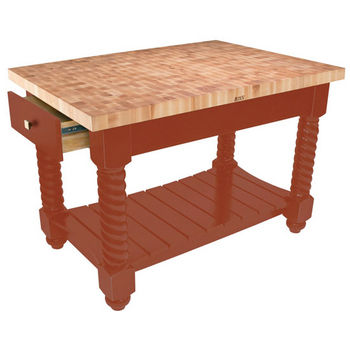 "John Boos Tuscan Isle - Maple End Grain Boos Block, Spicy Latte Base, 54""W x 32""D x 36""H"